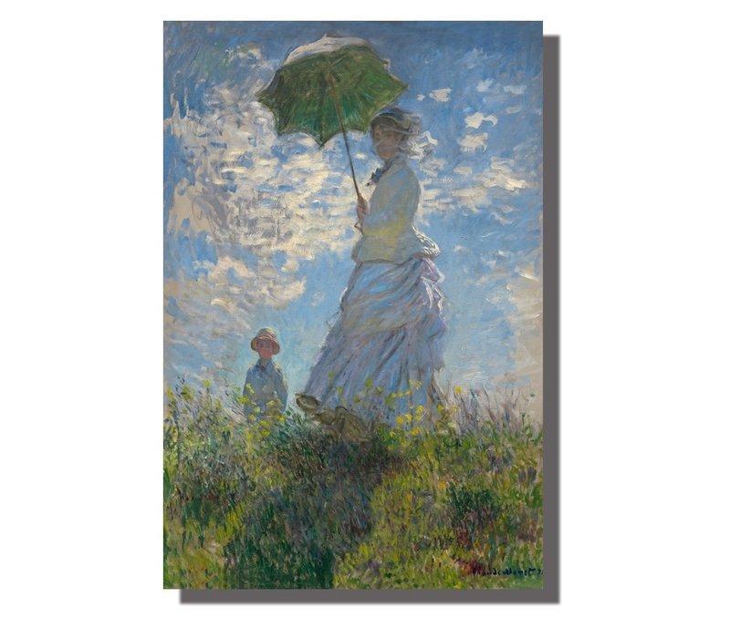 Schilderij Wall Art Canvas Print 120x80cm Woman Parasol Claude Monet Hand Embellished Giclee Handmade