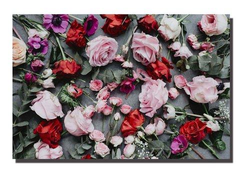 Fine Asianliving Schilderij Wall Art Canvas Print 120x80cm Roses Garden Hand Embellished Giclee Handmade