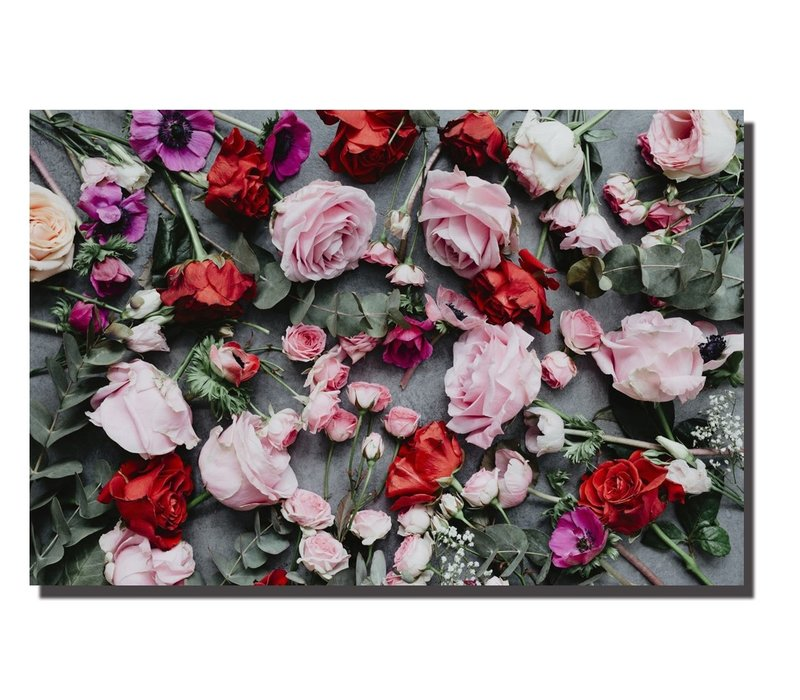 Wall Art Canvas Print 120x80cm Roses Garden Hand Embellished Giclee Handmade