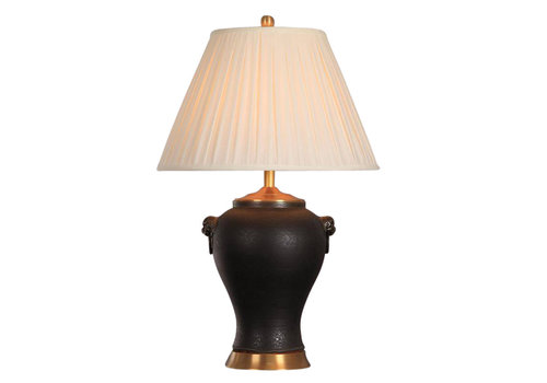 Fine Asianliving Oriental Porcelain Table Lamp Black Mat