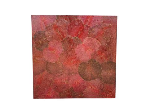 Fine Asianliving Echt Lotus Schilderij 120x120cm Duurzame Wall Art Passie Rood