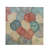 Fine Asianliving Real Lotus Painting 120x120cm Sustainable Wall Art Vintage Multicolour