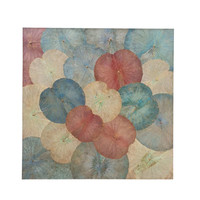 Real Lotus Painting Sustainable Wall Art Vintage Multicolour