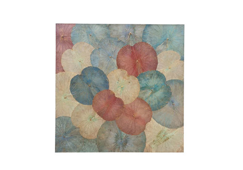 Fine Asianliving Lotus Leaf Painting Sustainable Wall Art Vintage Multicolour