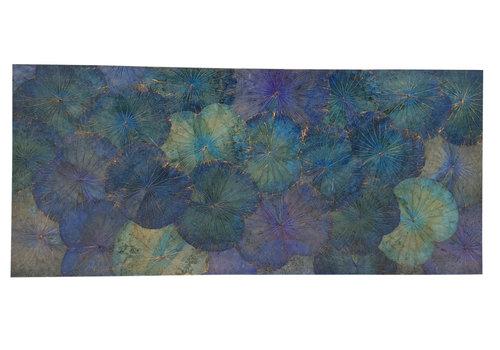 Fine Asianliving Echt Lotus Schilderij 80x180cm Duurzame Wall Art Oceaan Blauw
