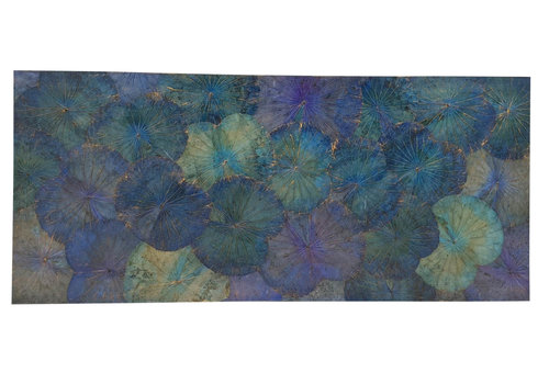 Fine Asianliving Lotus Leaf Painting Sustainable Wall Art Ocean Blue
