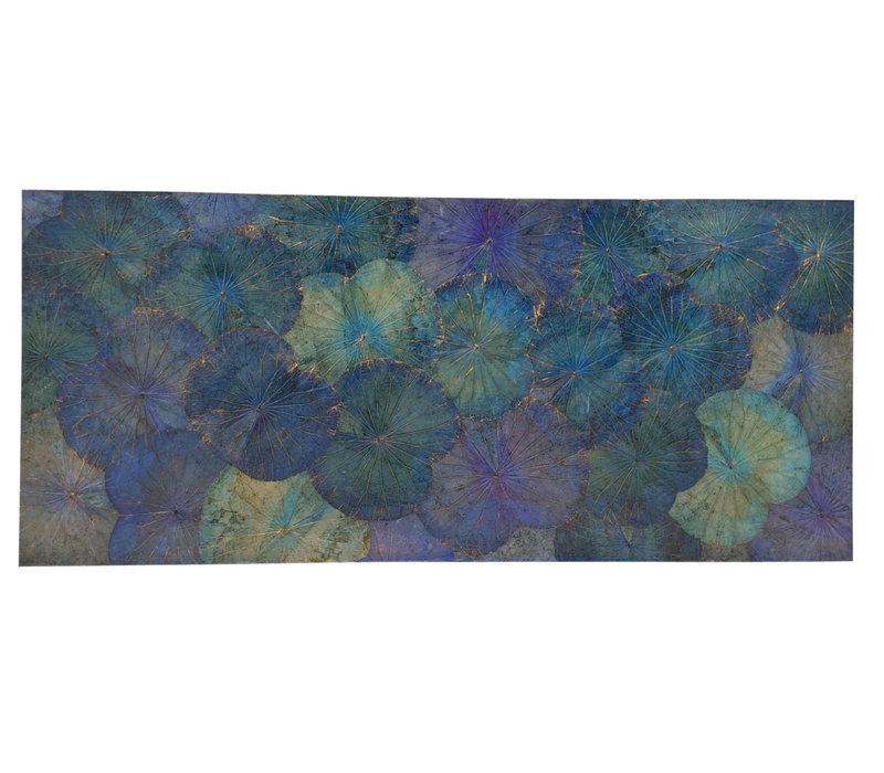 Lotus Leaf Painting Sustainable Wall Art Ocean Blue