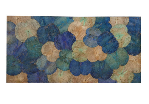 Fine Asianliving Lotus Leaf Painting Sustainable Wall Art Sapphire Blue
