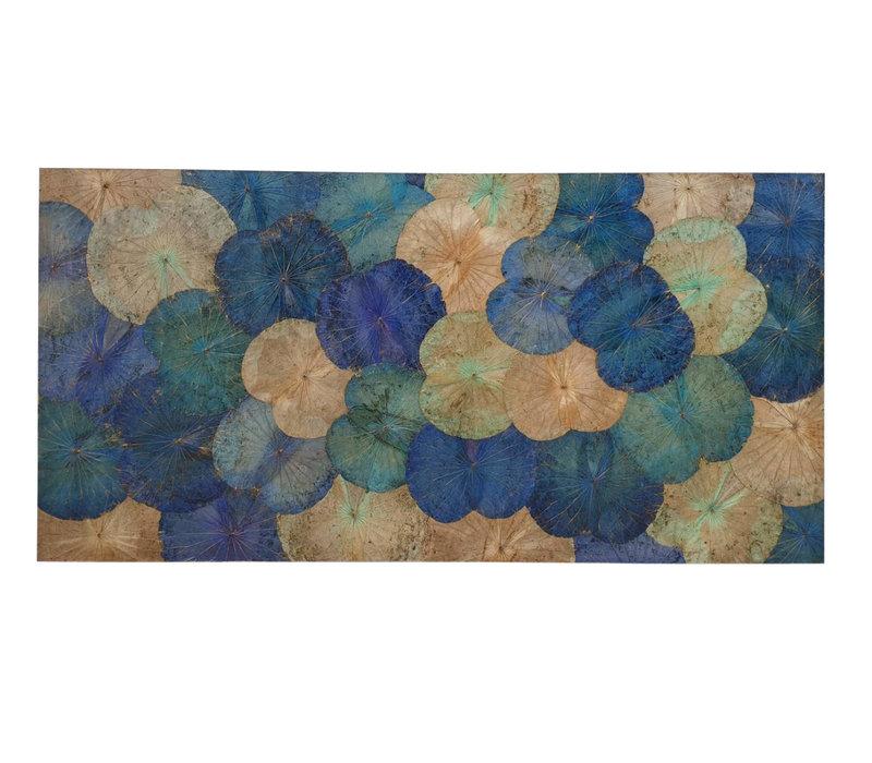 Echt Lotus Schilderij 100x180cm Duurzame Wall Art Saffierblauw
