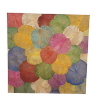Echt Lotus Schilderij 140x140cm Duurzame Wall Art Multicolour