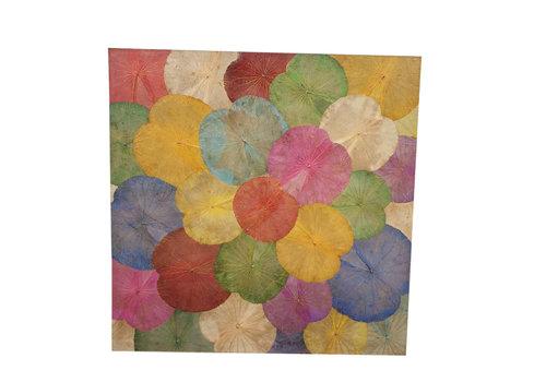 Fine Asianliving Echt Lotus Schilderij 140x140cm Duurzame Wall Art Multicolour