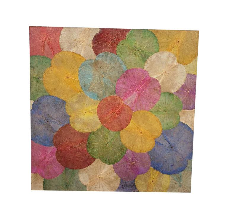 Lotus Leaf Painting Sustainable Wall Art Multicolour