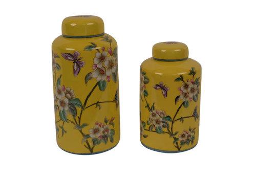 Fine Asianliving Chinesische Vase mit Deckel Porzellan Handbemalt Gelb Groß