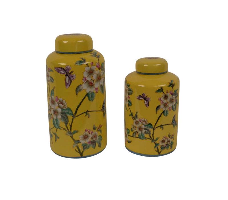 Chinesische Vase mit Deckel Porzellan Handbemalt Gelb Groß