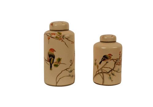 Fine Asianliving Chinese Decoratiepot Porselein Handgeschilderd Creme Small