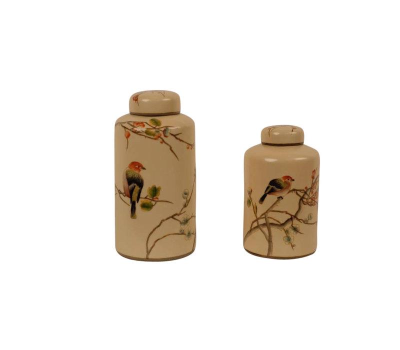 Chinese Decoration Pot Porcelain Handpainted Creme Large
