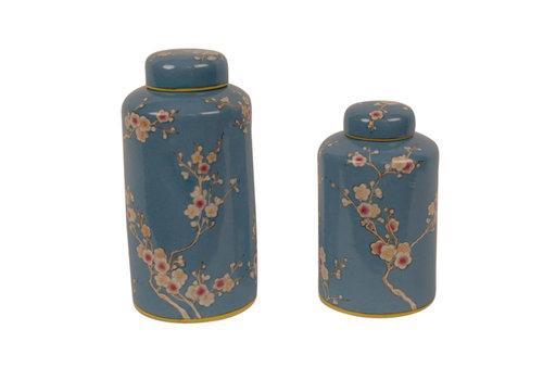 Fine Asianliving Chinesische Vase mit Deckel Porzellan Handbemalt Blau Klein