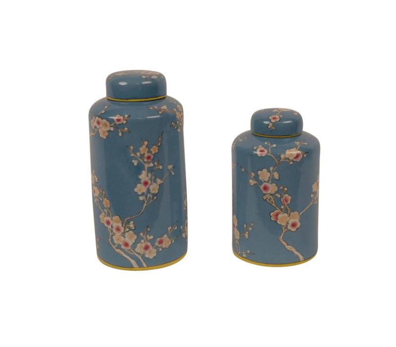 Chinese Decoratiepot Porselein Handbeschilderd Blauw Small