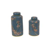 Chinese Gemberpot Porselein Handgeschilderd Blauw Sakura D13x27cm