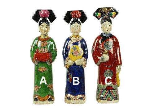 Fine Asianliving Chinese Keizerin Porselein Beeld Handbeschilderd Spiegel Blauw B