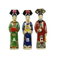 Chinese Keizerin Porselein Beeld Handbeschilderd Wijn Groen A