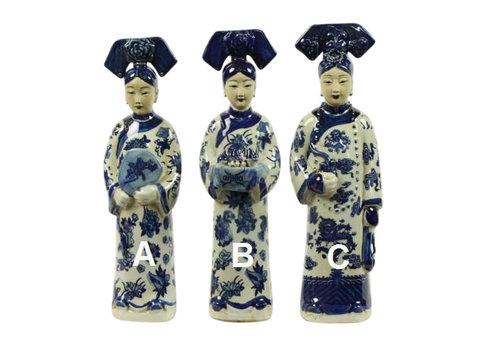 Fine Asianliving Chinese Keizerin Porselein Beeld Handbeschilderd BW Wijn B