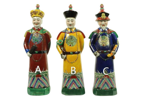 Fine Asianliving Chinese Emperor Porcelain Figurine Three Generations Qing Dynasty Statues Red Son - Luck A