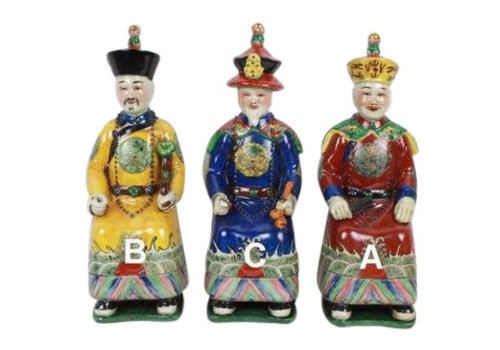 Fine Asianliving Chinese Keizer Porselein Beeld Handbeschilderd Grootvader - Lang Leven en Wijsheid C