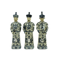 Chinese Emperor Porcelain Statue Handpainted Zoon - Luck A BW
