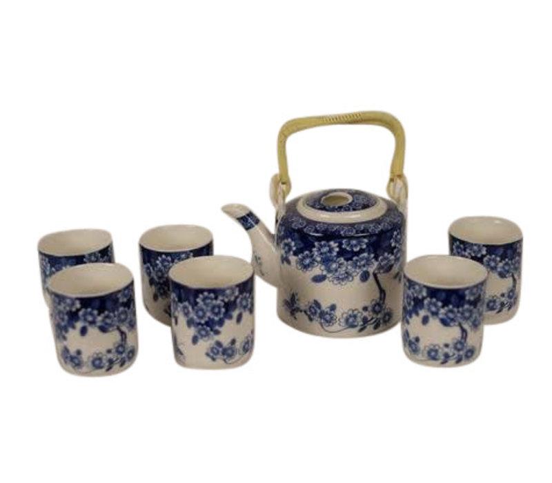 Chinese Tea set Blue Flower Set / 7
