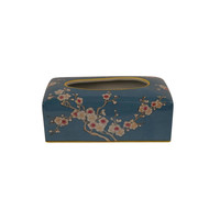Chinese Tissue Box Porcelain Handpainted Blue