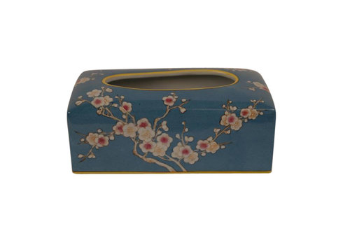 Fine Asianliving Chinese Tissue Box Porcelain Handpainted Blue