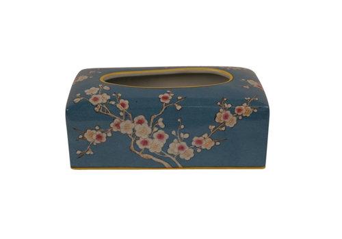 Fine Asianliving Chinese Tissuedoos Porselein Handbeschilderd Blauw