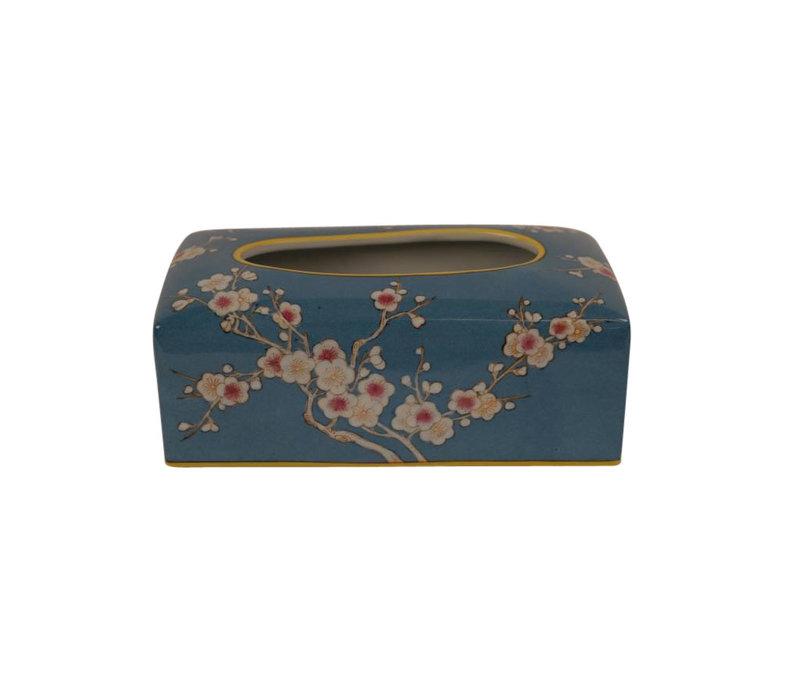 Chinese Tissuedoos Porselein Handbeschilderd Blauw