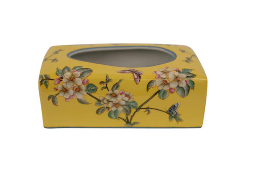 Fine Asianliving Chinese Tissuebox Porselein Handgeschilderd Geel