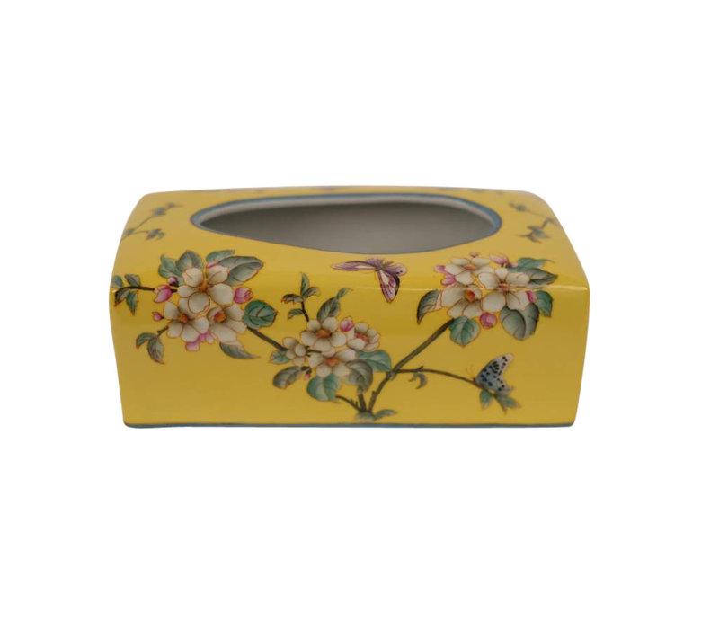 Chinese Tissue Box Porcelain Handpainted Yellow