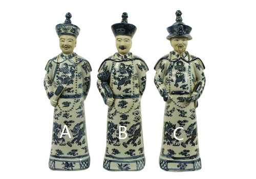 Fine Asianliving Chinese Keizers Porselein Beelden Handmade Set/3