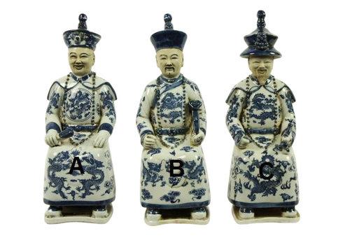 Fine Asianliving Set van Drie Chinese Keizers Zittend van Porselein in Blauw-wit