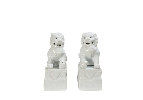 Fine Asianliving Chinese Foo Dogs White Porcelain Set/2 W15xD21xH37cm