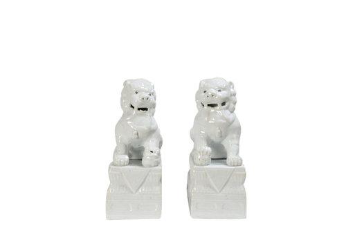 Fine Asianliving Foo Dogs White Porcelain Set/2