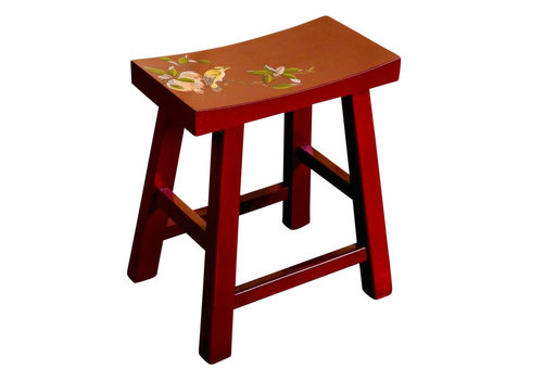 Fine Asianliving Chinese Stool Hand-painted Blossoms Red