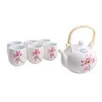 Fine Asianliving Chinesisches Teeservice Porzellan Handgemalt Seerose 7st Geschenkbox