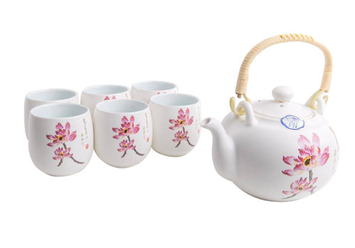 Fine Asianliving Fine Asianliving Chinese Tea Set Porcelain Handpainted Water Lily 7pcs Luxurious Giftbox