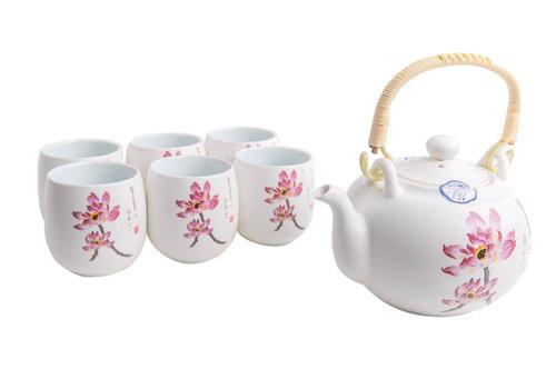 Fine Asianliving Fine Asianliving Chinesisches Teeservice Porzellan Handgemalt Seerose 7st Geschenkbox