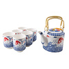 Fine Asianliving Chinese Tea Set Porcelain Handmade Koi Fishes 7pcs