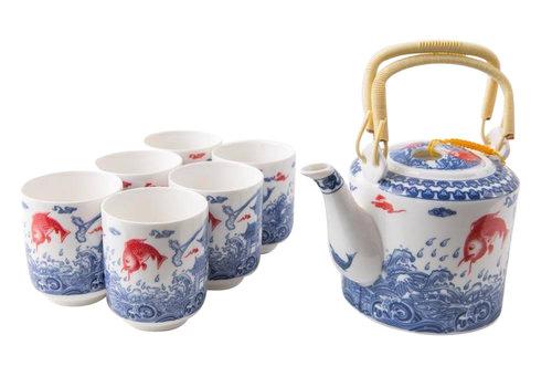 Fine Asianliving Orientalisches Teeservice Porzellan Handgemachte Koi Fisch Blau-Weiss 7st