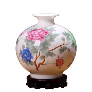 Fine Asianliving Chinesische Vase Porzellan Handbemalt Pfingstrosen