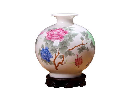 Fine Asianliving Chinese Vaas Porselein Handgeschilderde Pioenen