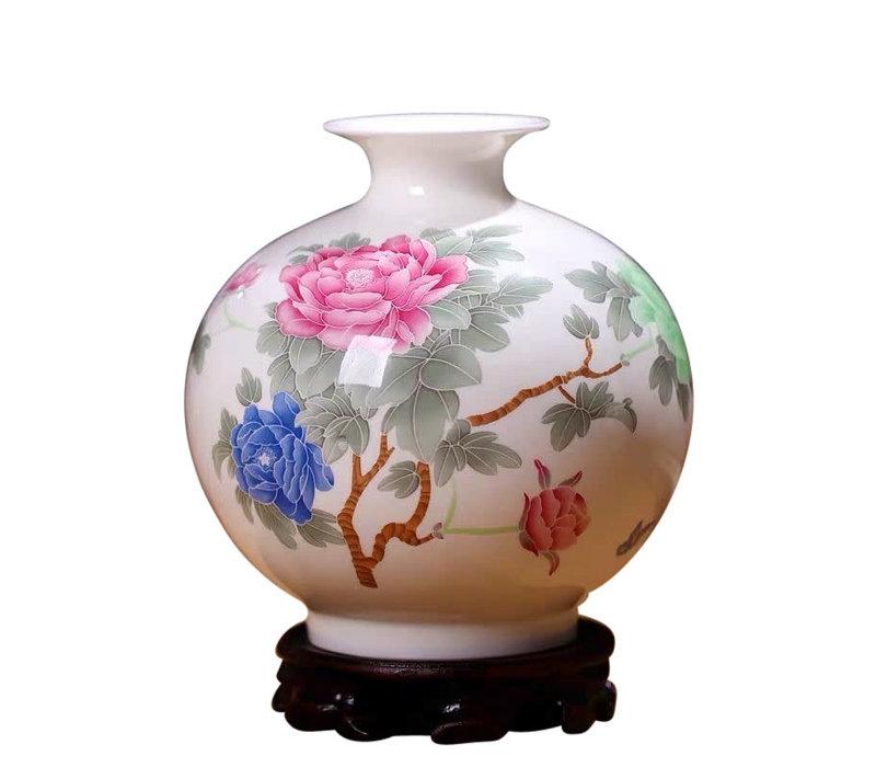 Chinesische Vase Porzellan Handbemalt Pfingstrosen