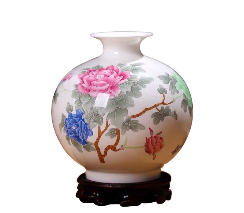 Fine Asianliving Chinese Vase Porcelain Handpainted Peonies